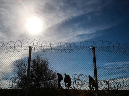 barbed wire migrants