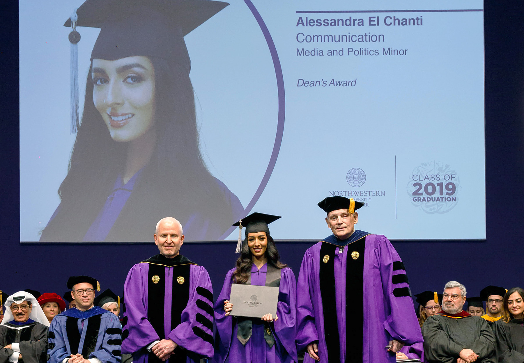 alessandra el chanti receives the deans award at the northwestern university in qatar commencement in doha