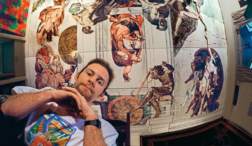 ryan duval in bobb-mcculloch dorm where he painted sistine chapel